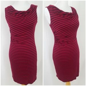 LOFT petites Small Red Dress Ruched Cowl Neck
